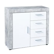 "Commode 4 Tiroirs ""Concrete"" Gris & Blanc"