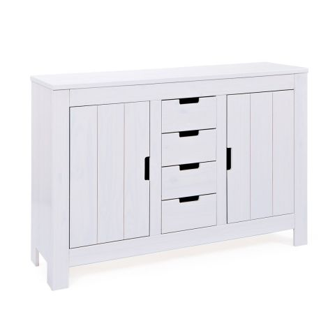 "Commode 4 Tiroirs & 2 Portes ""Home"" Blanc"