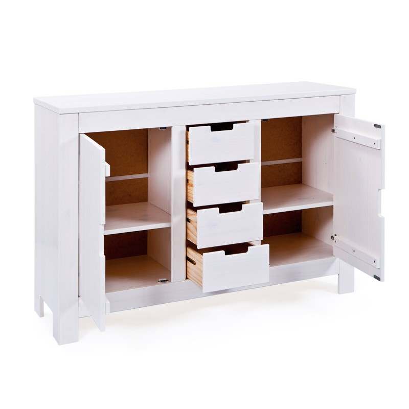 Commode 4 Tiroirs 2 Portes Home Blanc