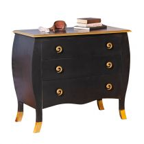 "Commode 3 Tiroirs ""Handel"" Noir & Or"