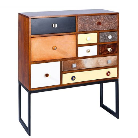 "Commode Haute 10 Tiroirs ""Colorado"" Marron"