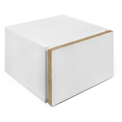 "TemaHome - Chevet ""Float"" Blanc Mat & Contreplaqué"