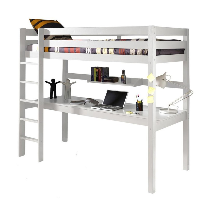 lit enfant superpos bureau pino blanc. Black Bedroom Furniture Sets. Home Design Ideas