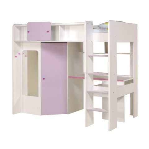 mezzanine enfant girly blanc. Black Bedroom Furniture Sets. Home Design Ideas