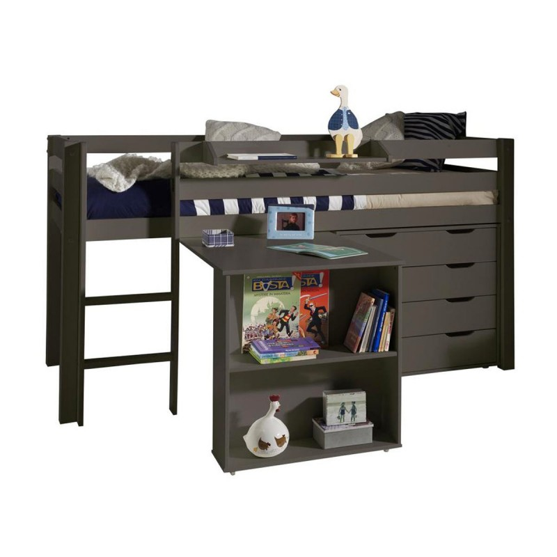 pack lit enfant bureau commode 4 tiroirs pino taupe. Black Bedroom Furniture Sets. Home Design Ideas