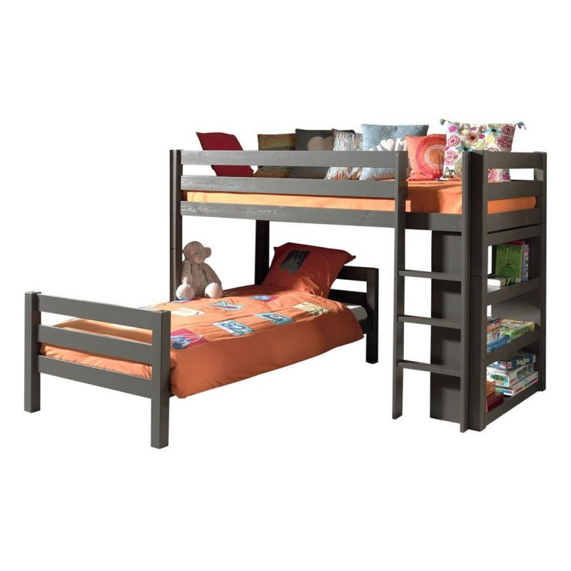 lit superpos d 39 angle tiroirs enfant pino taupe. Black Bedroom Furniture Sets. Home Design Ideas