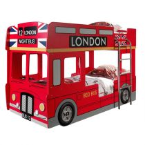 "Lit Superposé Enfant Bus ""Londres"" 90x200cm Rouge"