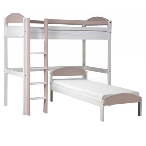 pack 3 lit mezzanine haut maximus 90x190cm blanc rose. Black Bedroom Furniture Sets. Home Design Ideas