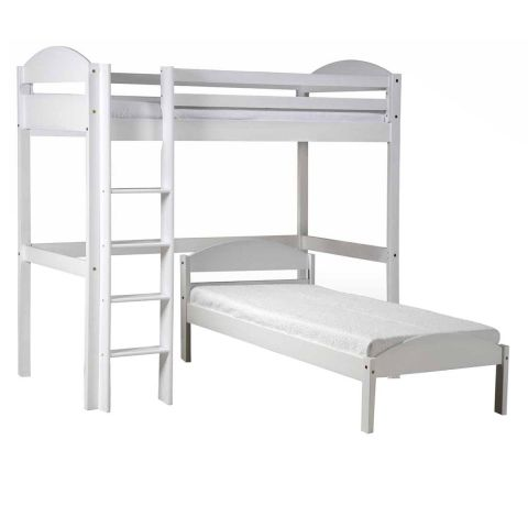 pack 3 lit mezzanine haut maximus 90x190cm blanc. Black Bedroom Furniture Sets. Home Design Ideas
