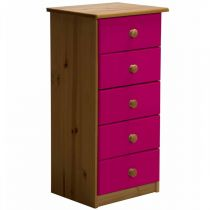 "Commode 5 Tiroirs ""Verona"" 91cm Naturel & Fuchsia"