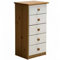 "Commode 5 Tiroirs ""Verona"" 91cm Naturel & Blanc"