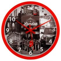 "Pendule Murale ""London"" 22cm Rouge"