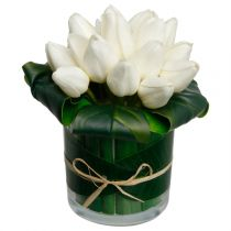 "Composition Florale ""16 Tulipes"" 20cm Blanc"