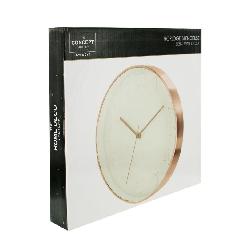 horloge murale gold 30cm blanc cuivre. Black Bedroom Furniture Sets. Home Design Ideas
