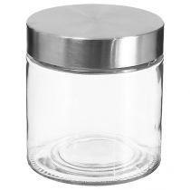 Bocal en Verre 750ml Transparent & Argent