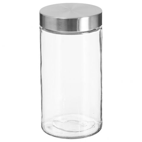 Bocal en Verre 1,7L Transparent & Argent