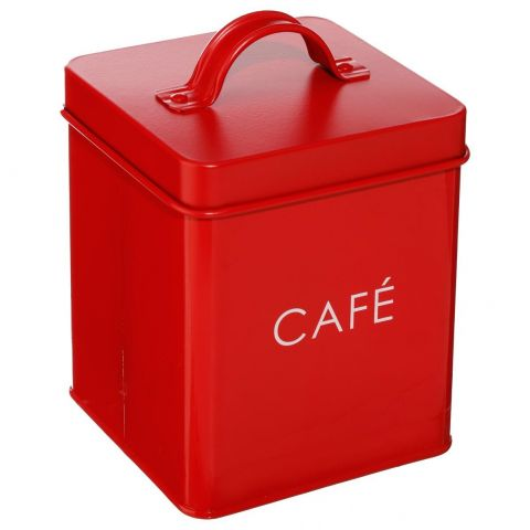 bo te de rangement m tal caf 14cm rouge. Black Bedroom Furniture Sets. Home Design Ideas