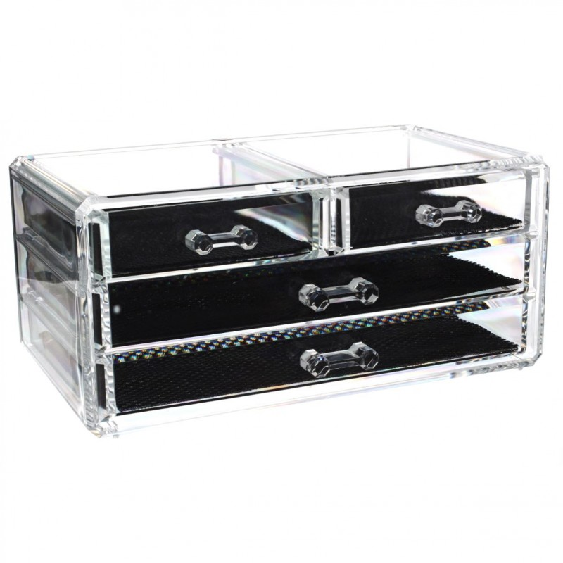 bo te de rangement 4 tiroirs cosm tique bijoux transparent. Black Bedroom Furniture Sets. Home Design Ideas