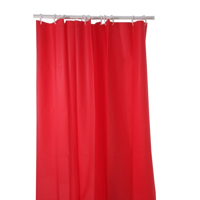 Rideau douche polyester 180x200cm rouge for Rideau rouge