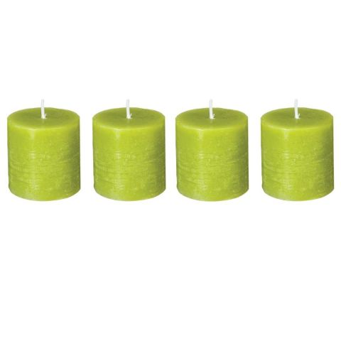 "Lot de 4 Bougies Votives ""Rustic"" 4,5cm Vert"