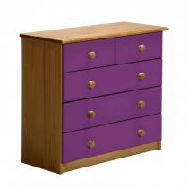 "Commode 5 Tiroirs ""Verona"" 74cm Naturel & Lilas"