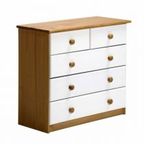 "Commode 5 Tiroirs ""Verona"" 74cm Naturel & Blanc"