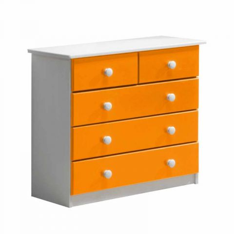 "Commode 5 Tiroirs ""Verona"" 74cm Blanc & Orange"