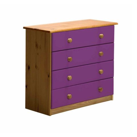 "Commode 4 Tiroirs ""Verona"" 74cm Naturel & Lilas"