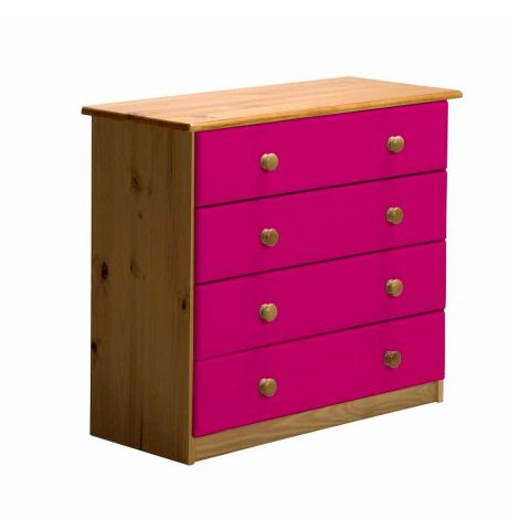 "Commode 4 Tiroirs ""Verona"" 74cm Naturel & Fuchsia"