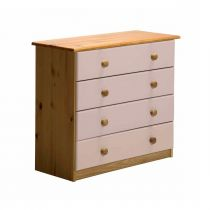 "Commode 4 Tiroirs ""Verona"" 74cm Naturel & Rose"
