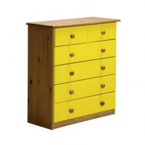 "Commode 6 Tiroirs ""Verona"" 91cm Naturel & Jaune"