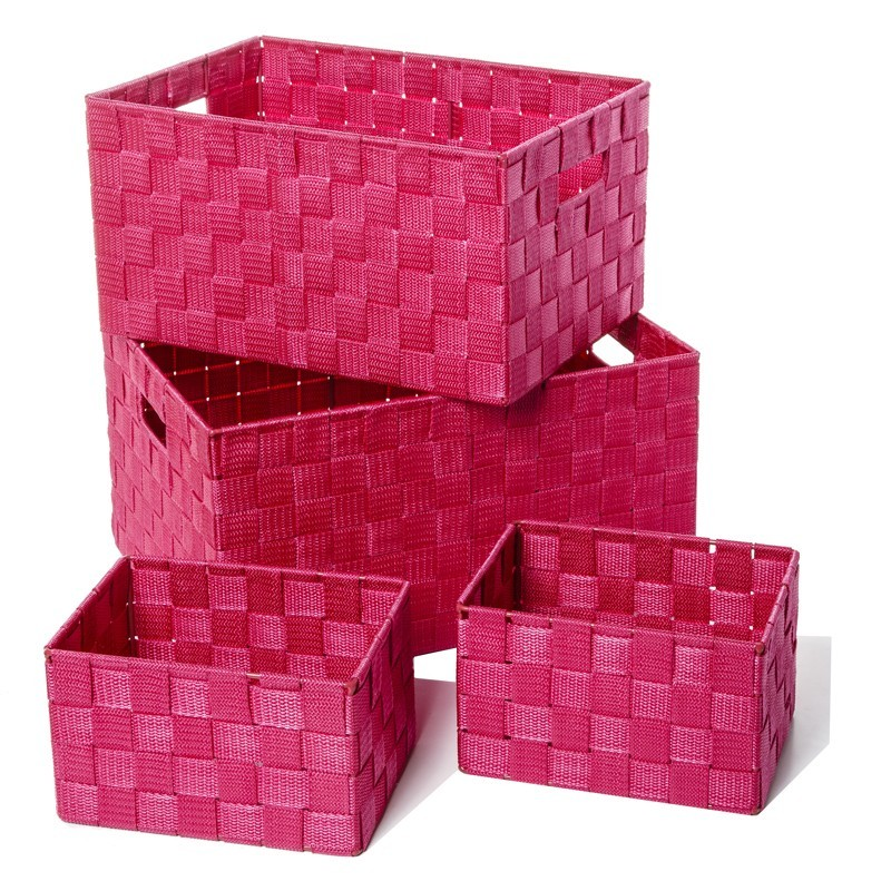 set de 4 paniers de rangement framboise. Black Bedroom Furniture Sets. Home Design Ideas