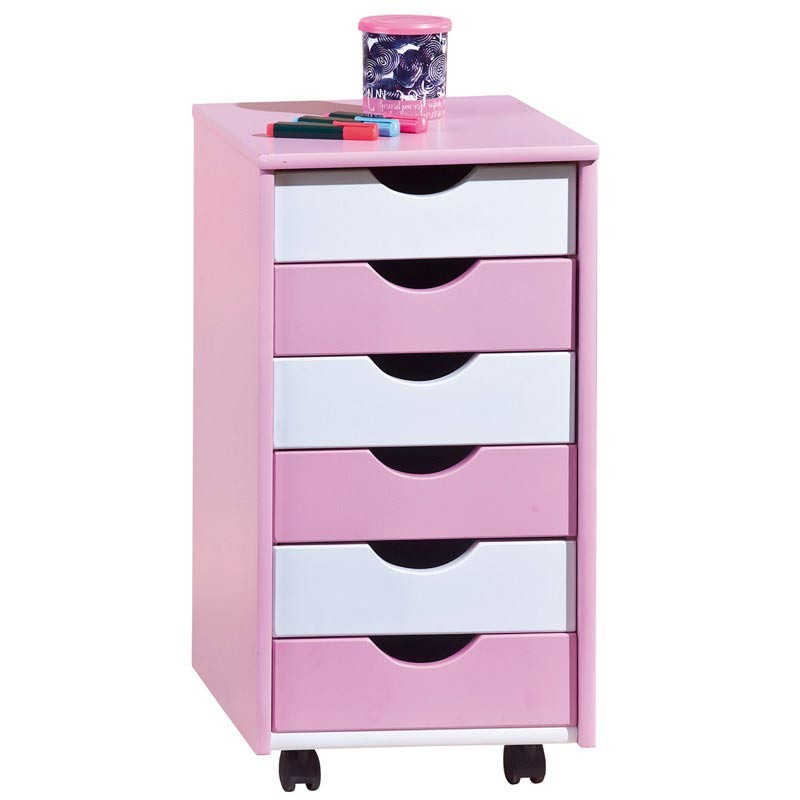 caisson de bureau 6 tiroirs school rose blanc. Black Bedroom Furniture Sets. Home Design Ideas