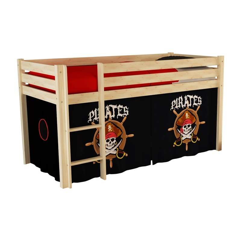 tente textile pour lit pino pirates ii noir. Black Bedroom Furniture Sets. Home Design Ideas