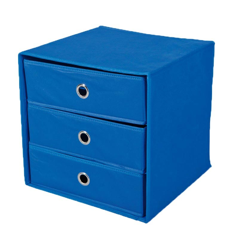 bo te de rangement 3 compartiments kase bleu. Black Bedroom Furniture Sets. Home Design Ideas