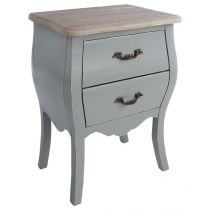"Table de Chevet 2 Tiroirs ""Charme"" 62cm Gris"