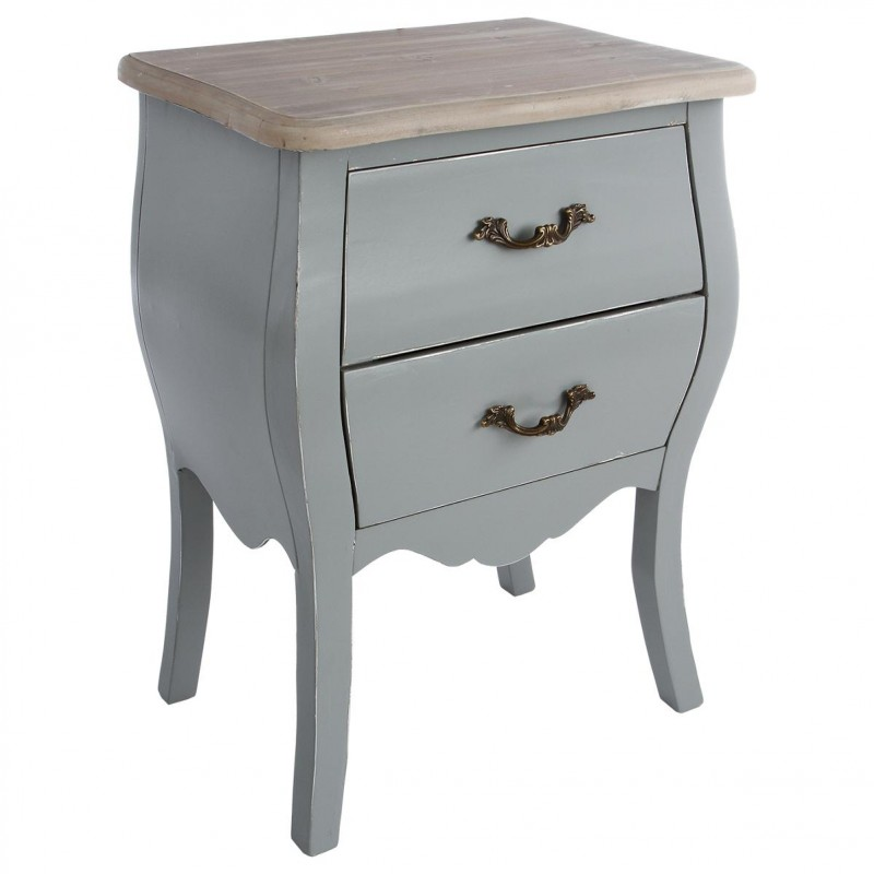 Table de chevet 2 tiroirs charme 62cm gris for Table de chevet zen