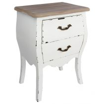 "Table de Chevet 2 Tiroirs ""Charme"" 62cm Blanc"