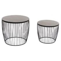 "Set de 2 Tables d'Appoint Design ""Modern' Noir"
