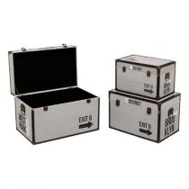 "Set de 3 Malles Rectangulaires ""District 9"" Beige"