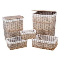 "Set de 3 Paniers & 2 Coffres ""Campagne"" Naturel"
