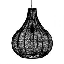 "Lampe Suspension ""Rotin"" 49cm Noir"