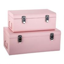 "Set de 2 Malles Rectangulaires ""Cantine"" Rose"
