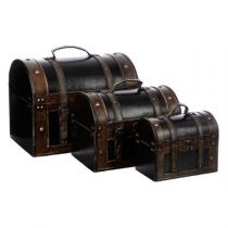 "Set de 3 Malles en Bois ""British"" Marron"
