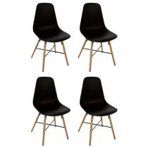 "Lot de 4 Chaises Design ""Esco"" 86cm Noir"