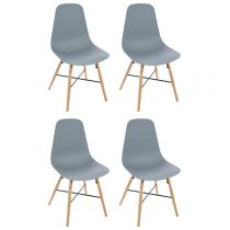 "Lot de 4 Chaises Design ""Esco"" 86cm Gris"