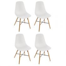 "Lot de 4 Chaises Design ""Esco"" 86cm Blanc"