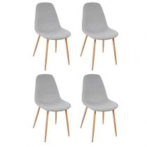 "Lot de 4 Chaises Design ""Roka"" 87cm Bleu Gris"