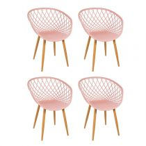 "Lot de 4 Chaise Design ""Zina"" 81cm Rose"
