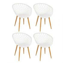 "Lot de 4 Chaises Design ""Zina"" 81cm Blanc"